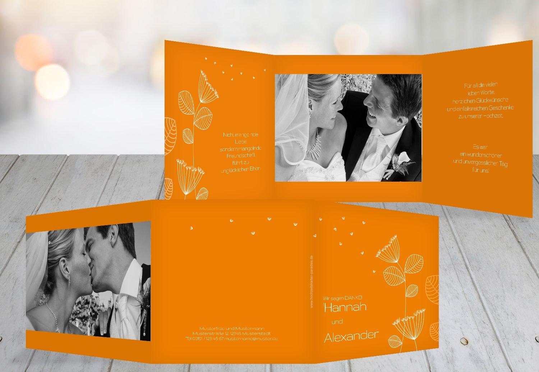 Dandelion wedding thank you cards orange 90 karten amazon co uk kitchen home