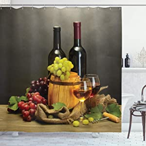 Ambesonne Winery Shower Curtain, Cask Bottles and Glasses of Wine and Ripe Grapes on Wooden Table Picture Print, Cloth Fabric Bathroom Decor Set with Hooks, 75