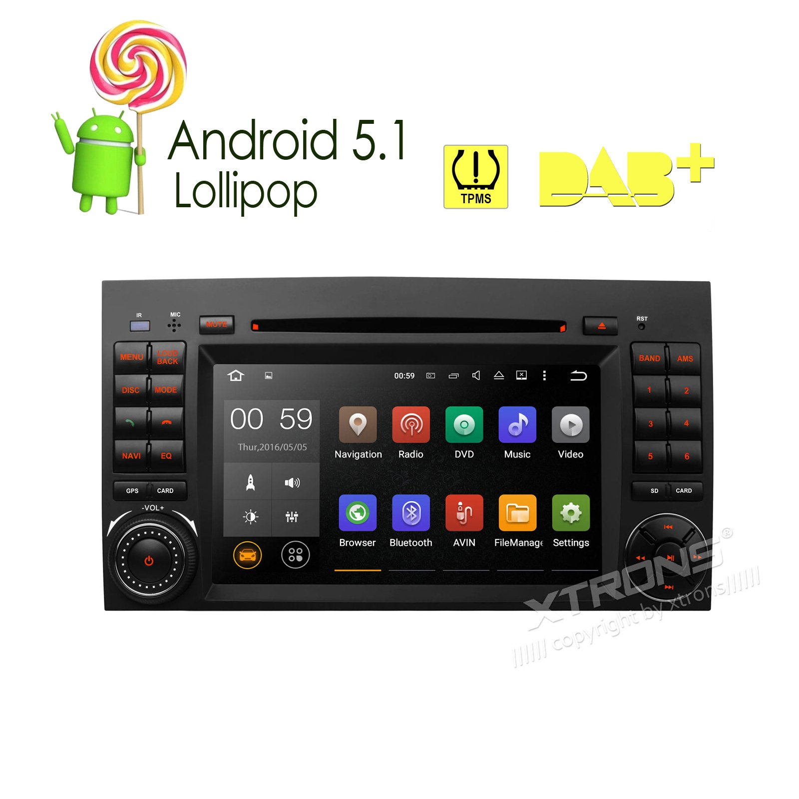 XTRONS 7'' Android 5.1 Lollipop Quad Core Car DVD Player with Screen Mirroring Function & OBD2 Tire Pressure Monitoring for Mercedes-Benz Sprinter B-W245