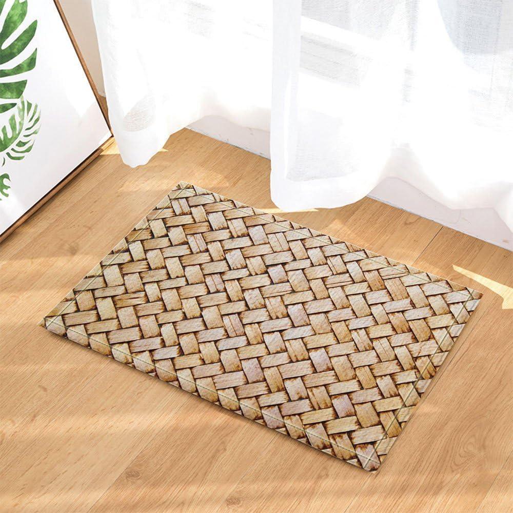 Decoración de madera una pieza de bambú de punto alfombra de baño antideslizante para el piso de entrada al aire libre interior puerta estera niños 60 x 40 cm marrón claro