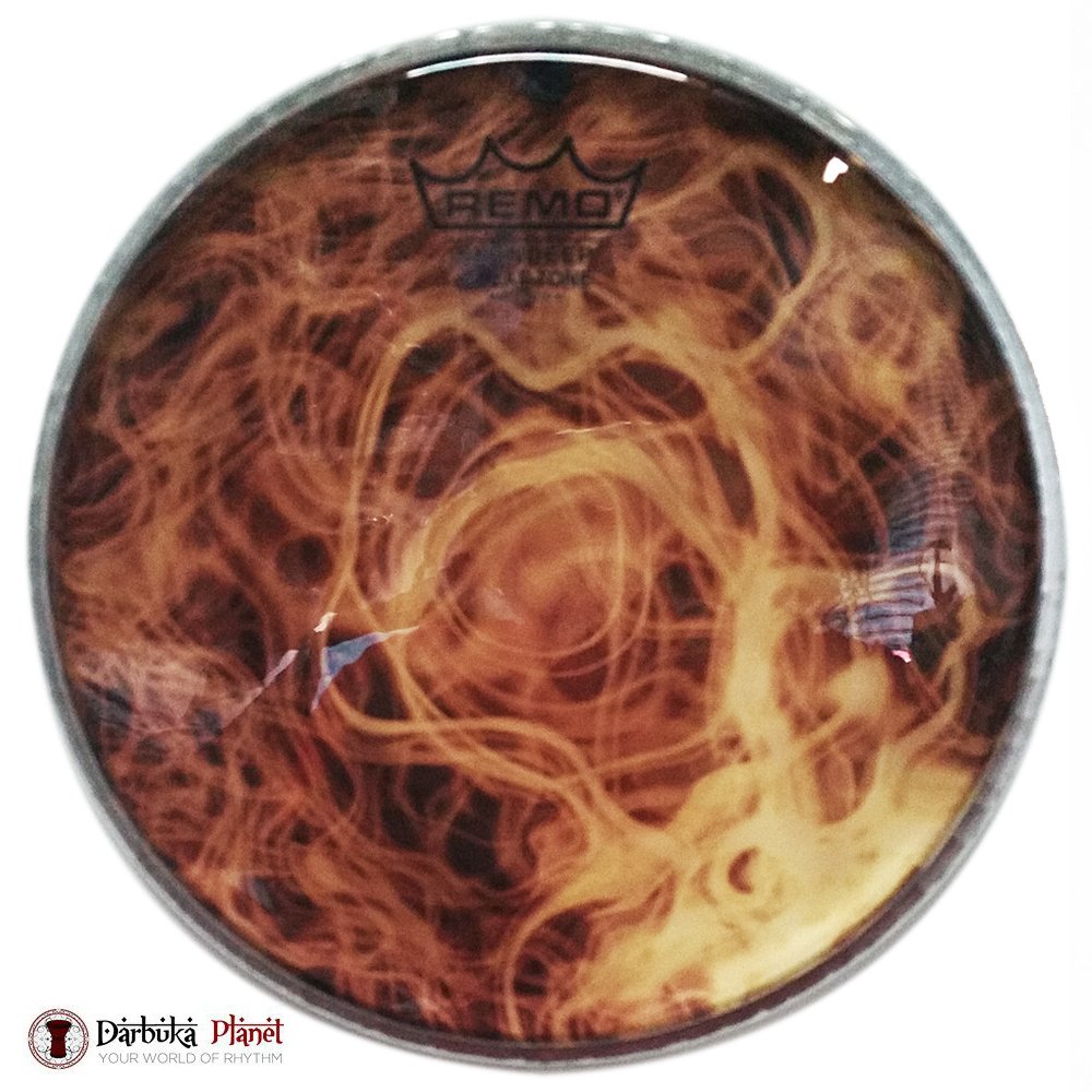 Remo DX-Series Skyndeep Clear Tone Doumbek Darbuka Drumhead - Yellow Mist Graphic, 8.75'' by Remo