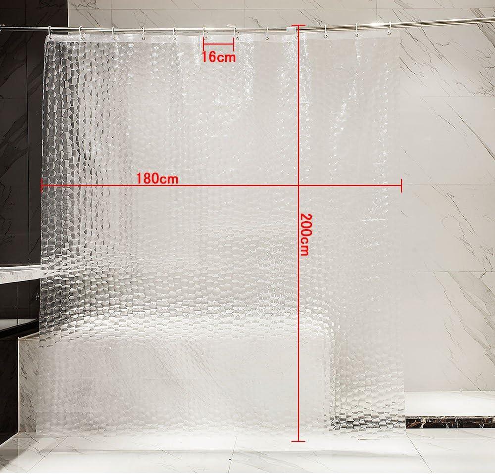 Blanca OTraki Cortina Ba/ño 180 x 200 cm Antimoho Impermeable Cortina Ducha PEVA Sin PVC 3D Cortina Ba/ñera Semi-Transparente Lavable Shower Curtian con 12 Ganchos a Prueba de Herrumbre