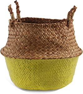 Seagrass Folding Handmade Storage Basket Decorative Rattan Plant Flower Pot Woven Wicker Belly Laundry Basket Home Decor,Yellow,22cmX20cm