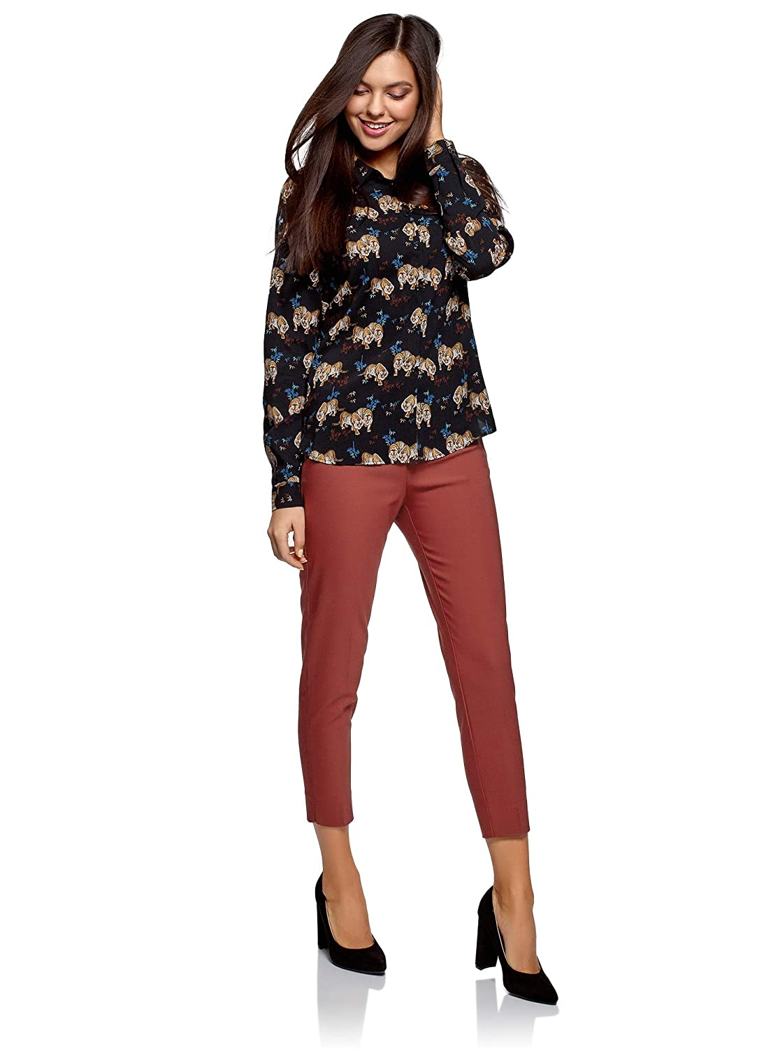 oodji Collection Womens Slim-Fit Trousers with Side Zipper