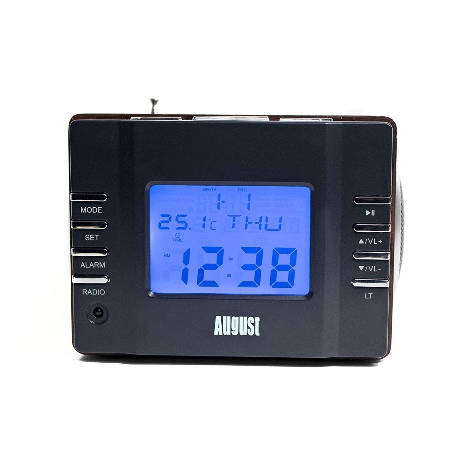 Radio Despertador – August MB300 - MP3 Player/Equipo estéreo – Radio Reloj (Negro)