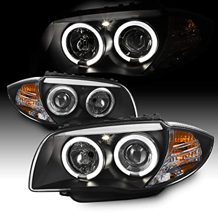 For BMW E87 1 Series Sport Coupe Halogen Type Black Bezel Dual Halo  Projector Headlights Lamps Pair