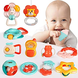 12Pcs Baby Rattles Set, Chewing Silicone Teether, Shaker, Infant Grasping Grab Toy, Spin Shaking Bell Musical Toy Set, Early Educational Toy with Storage Box for Toddler Newborn Baby Infant Boys Girls