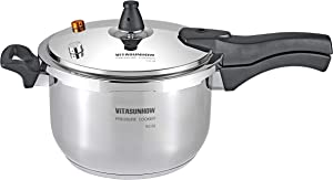 VITASUNHOW Stainless Steel Pressure Cooker with Steamer Basket, Faster Cooking and Safety Pressure Release, (9-Liter)