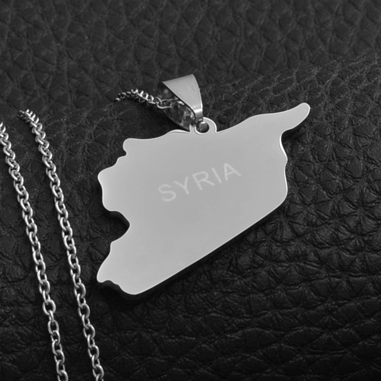 Zoe-clothes-store Map Pendant Necklaces for Women Men Syria Map Necklaces 316 Stainless Steel Charms Pendant Necklaces Syrians Jewelry Middle East