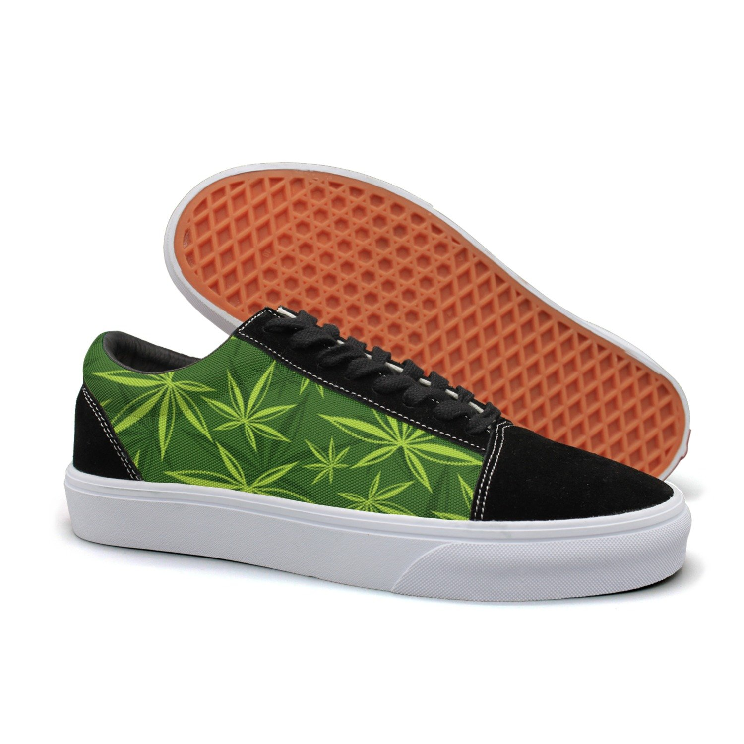 separation shoes a3ad3 a454a Amazon.com  Armsttm Women Skate Shoes Cannabis Leaf Marijuana Weed Classic  Suede Sneaker Lace Up Shoes  Sports   Outdoors