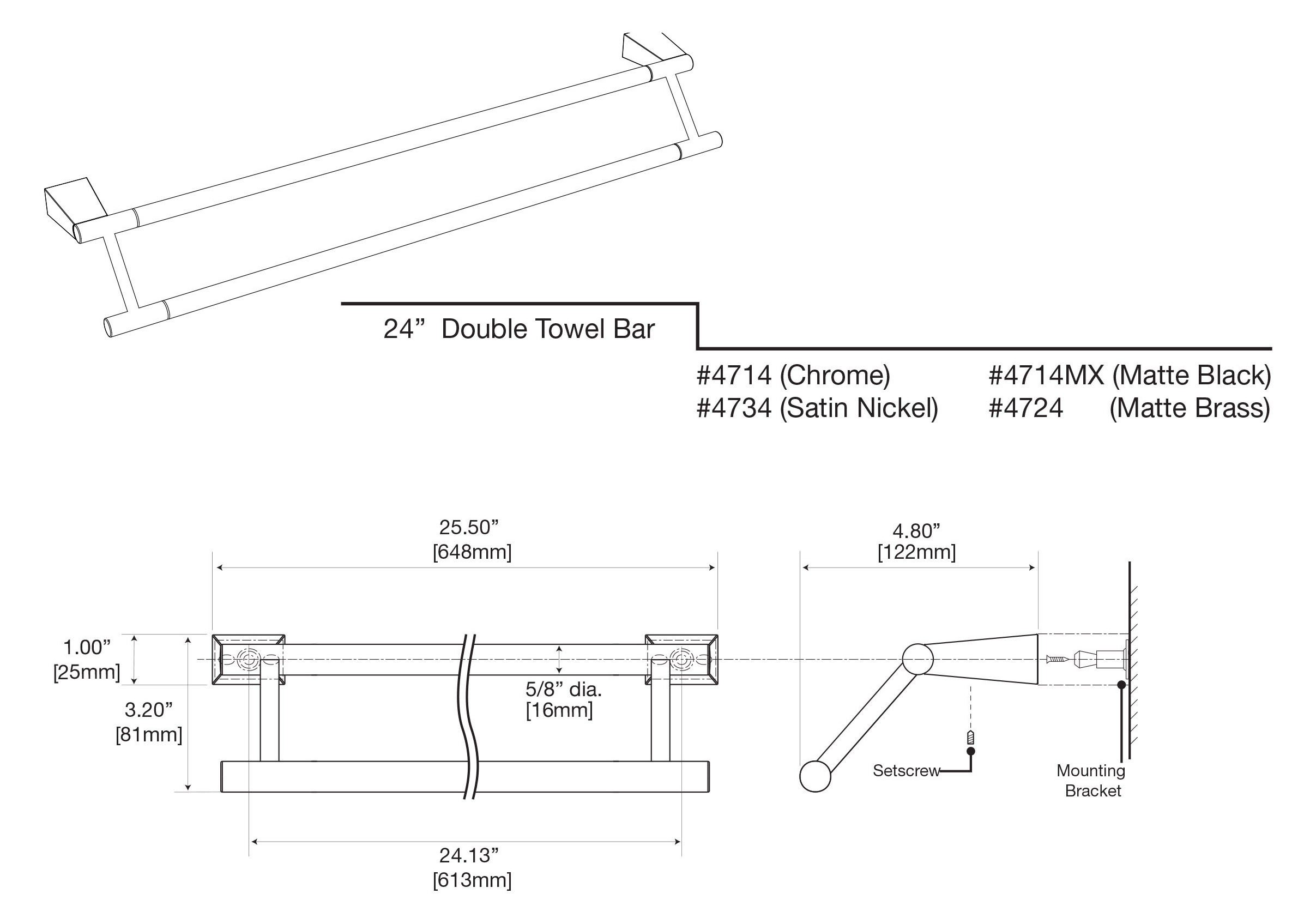 Gatco 4714 Bleu 24'' Double Towel Bar, Chrome by Gatco (Image #3)