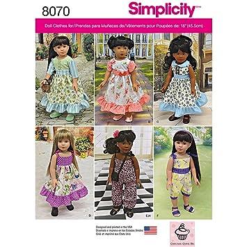 Simplicity 8070os Vintage inspiriert mit 18 Puppenkleider ...