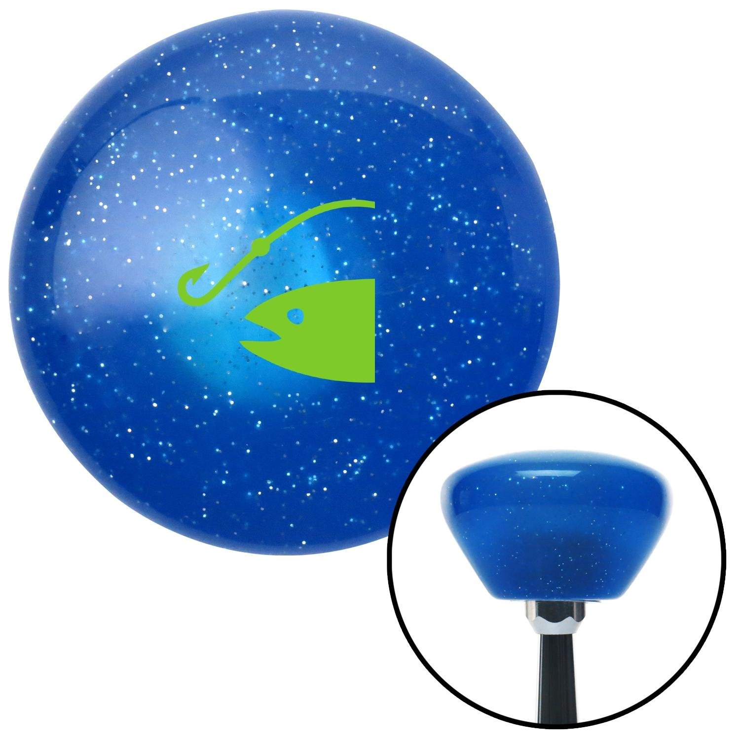 Green Fish /& Hook American Shifter 189982 Blue Retro Metal Flake Shift Knob with M16 x 1.5 Insert
