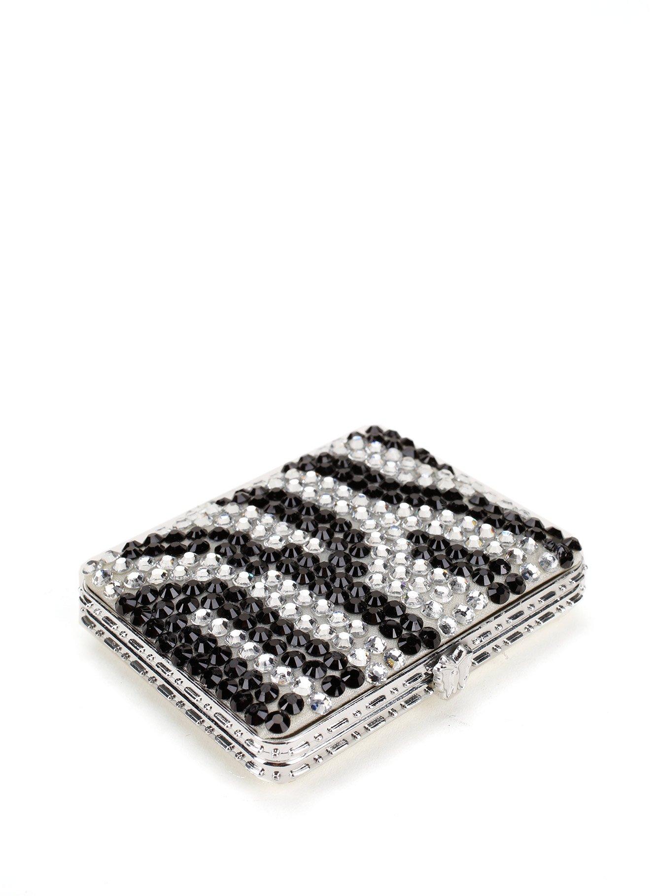 Rectangular Rhinestone Compact Mirror with Zebra Pattern Design