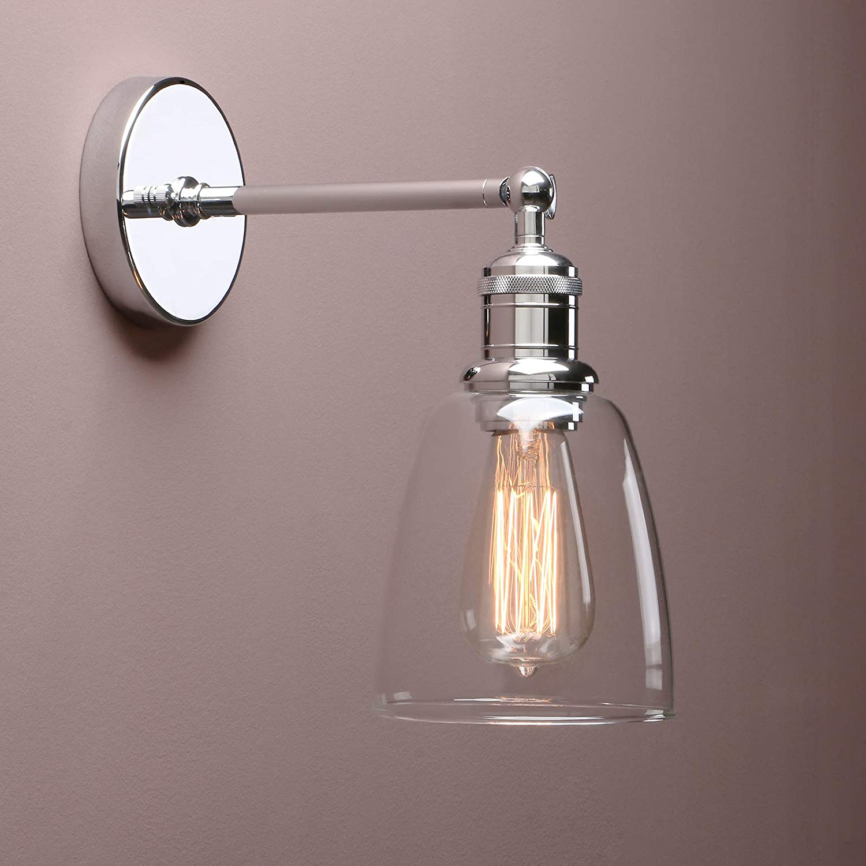 Geb/ürsteter Edelstahl Farbe Yosoan Glocken-Klar Glas Wandleuchten Vintage Industrie Loft-Wandlampen Antik Deko Design Wandbeleuchtung Badezimmerleuchte Badezimmerlampe spritzwassergesch/ützt