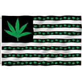 ANLEY [Fly Breeze] 3x5 Foot Marijuana Leaf USA Polyester Flag - Vivid Color and UV Fade Resistant - Canvas Header and Double Stitched - US Marijuana Leaves Flags with Brass Grommets 3 X 5 Ft