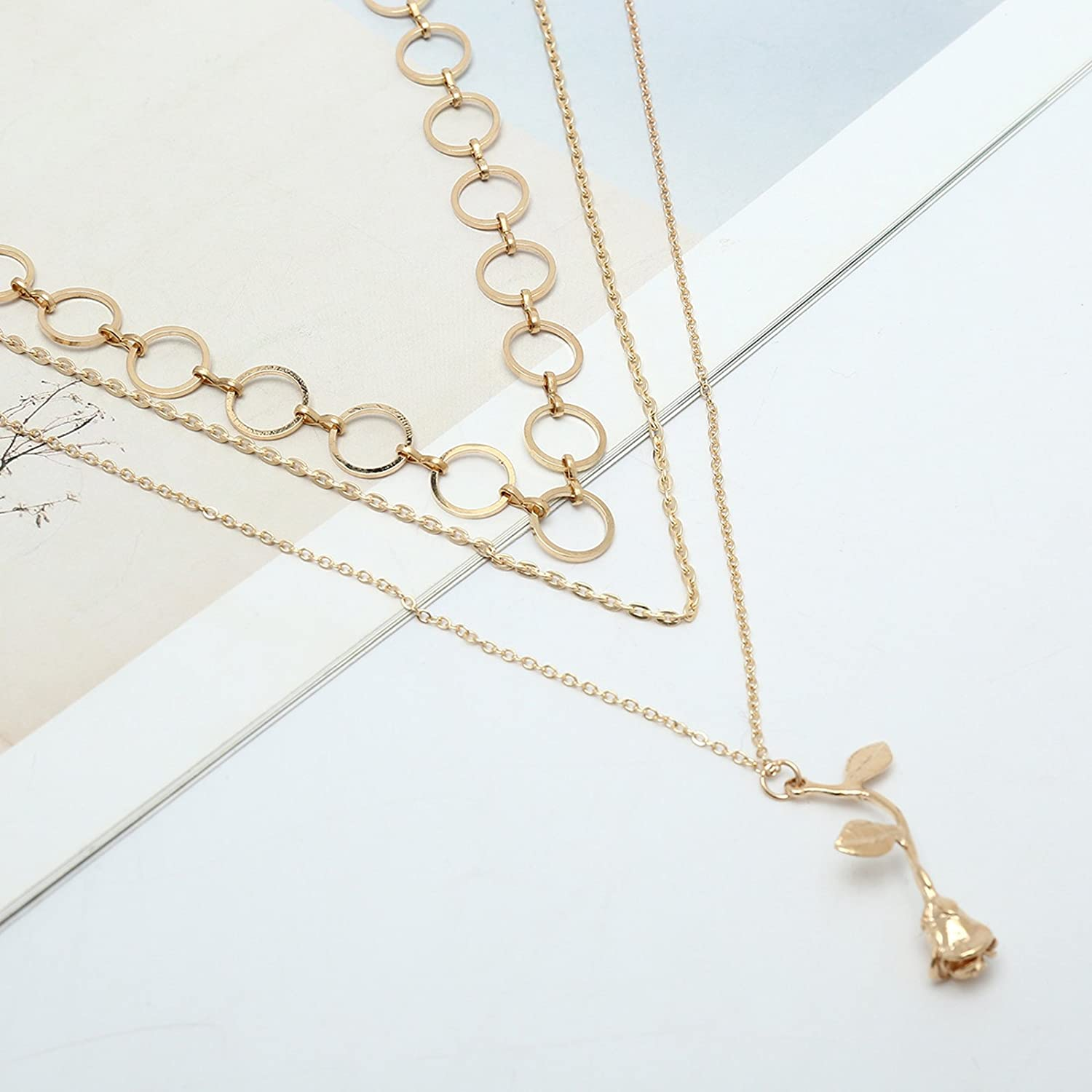 Bishilin Alloy Necklace for WomenClavicle Necklace Choker Multilayer Pendant Chain Rose