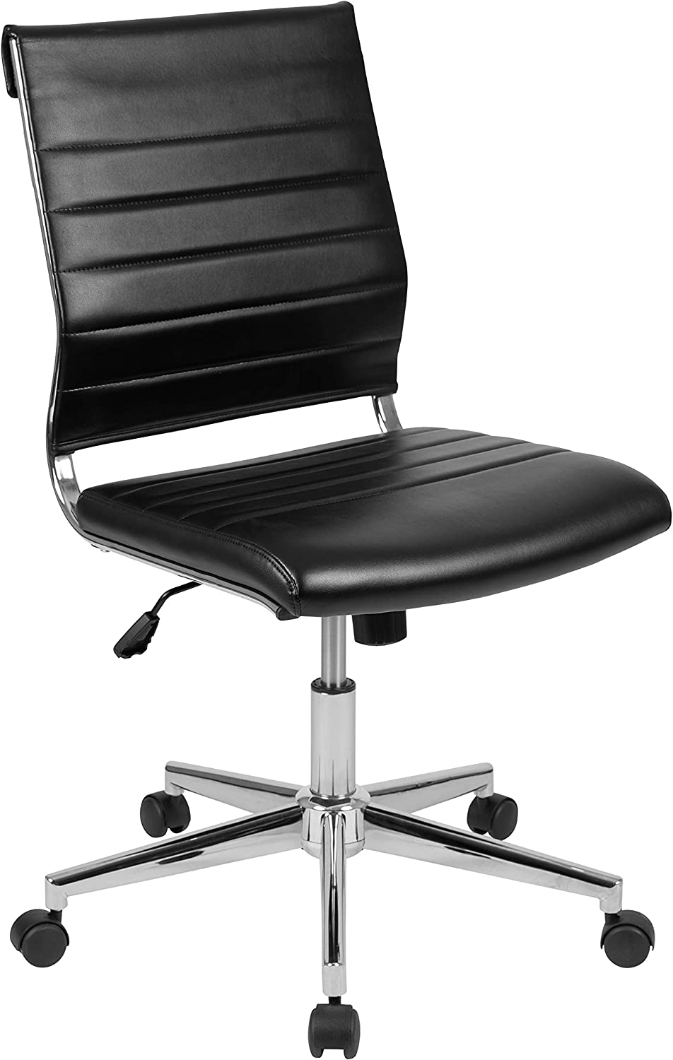 Flash Furniture Mid-Back Armless Black LeatherSoft Contemporary Ribbed Executive Swivel Office Chair