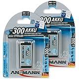 ANSMANN 9V Rechargeable Batteries 300mAh pre-charged Low Self-Discharge (LSD) NiMH 9 Volt Battery 9V Battery (2-Pack)