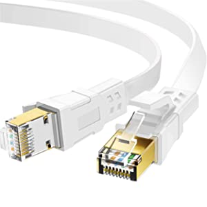 Cat 8 Ethernet Cable 50 ft, 26AWG Heavy Duty High Speed RJ45 Patch Cord, Cat8 LAN Gold Plated 40Gbps 2000Mhz Network, Indoor, Outdoor & Weatherproof S/FTP UV Resistant for Router/Modem/Gaming/Switch