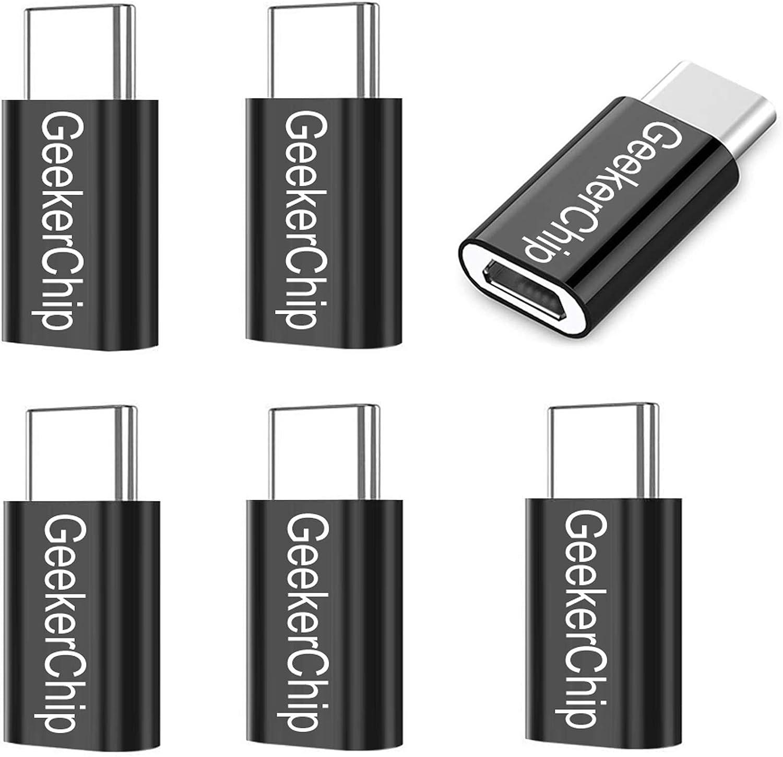 GeekerChip Adaptador USB C a Micro USB,Micro USB a Type C Conector para Galaxy S10+/S9,Mate 20/30/30Pro,P20/30,Honor 10/20,Xiaomi 9/9Pro,Redmi Note 7/8[6 Pack]