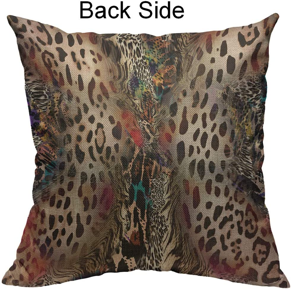 Animal Print Home Cotton Linen Bed Decor Pillow Case Waist Throw Cushion Cover