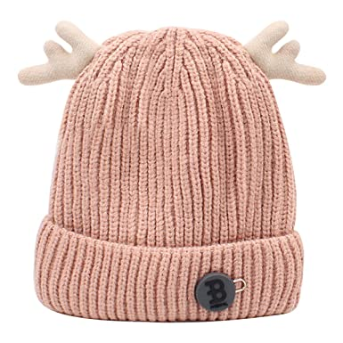 39b0c9e6ce1 AiSi Mily Baby Boys Girls Cute Deer Antlers Knitted Cap Newborn Baby Cotton  Crochet Winter Warm Hat