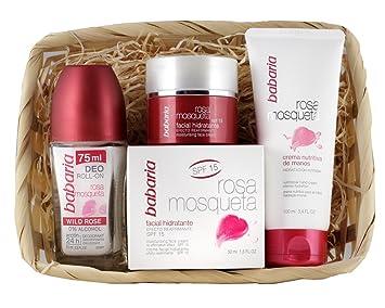 Babaria Rosa Mosqueta Crema Facial Hidratante, Nutritiva de Manos y Desodorante Roll-On - 225 ml