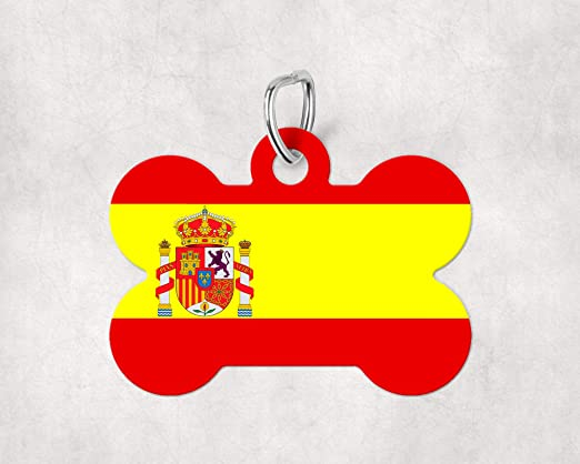 Chapa para Perro Bandera Escudo España Original y Divertida - Forma De Hueso Aluminio - Placas Graciosas para Gatos Mascotas Animales: Amazon.es: Hogar