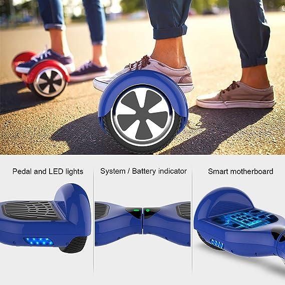 COLORWAY Patinete Eléctrico Auto Equilibrio Hover Scooter Board 6.5 Pulgadas con Fuerte Dual Motor y LED E-Skateboard