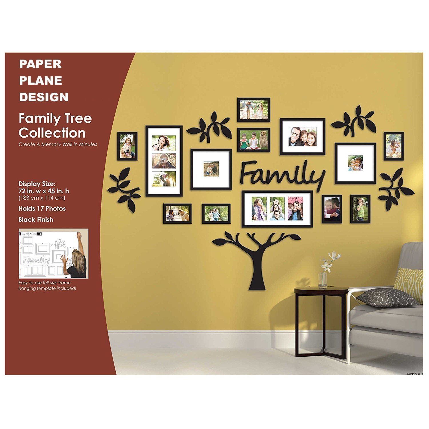 Colorful Family Tree Wall Hanging Frames Motif - Picture Frame Ideas ...