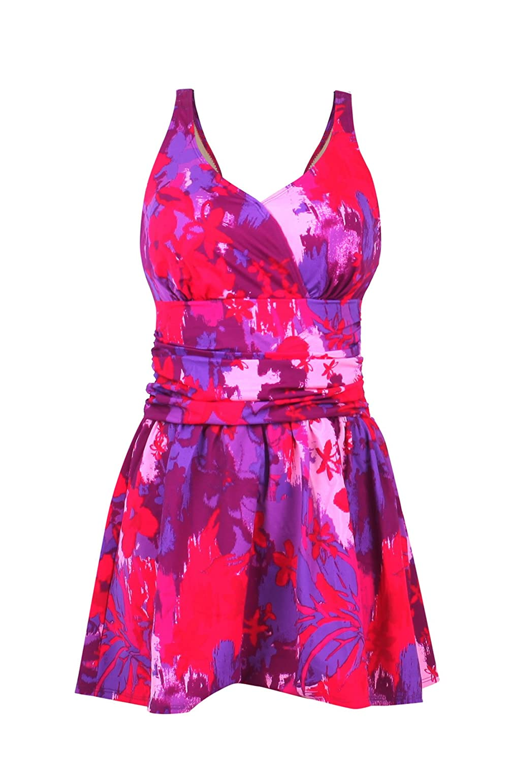 JINXUEER Women/'s Plus Size Swim Dress Floral Print Ruched Modest Slimming One Piece Skirt Swimsuit