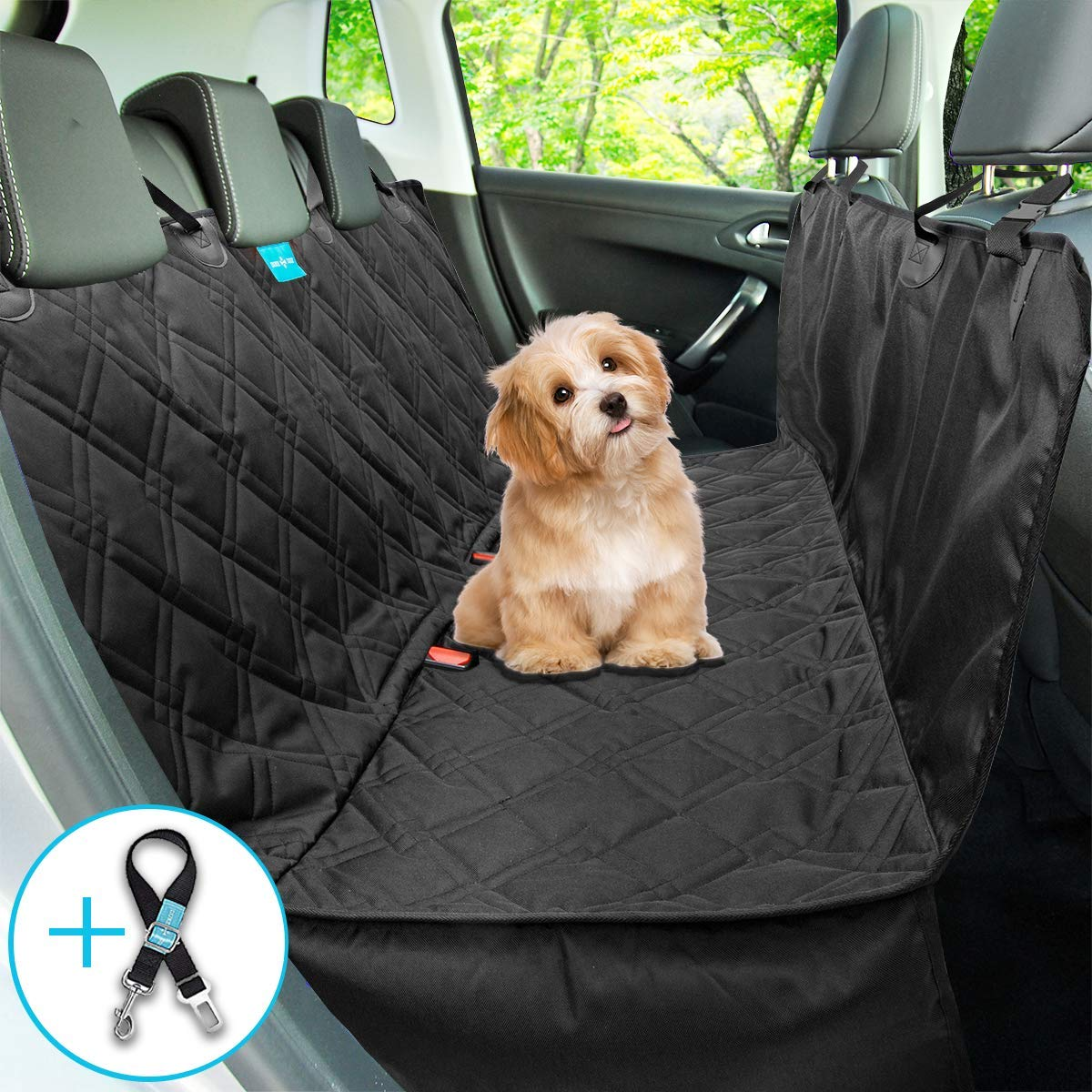 Dog Car Seat Cover Dog Hammock for Back Seat Best Pet car seat Cover for Cars Trucks SUV Washable Luxury Heavy Duty Durable Side Flaps Universal Size Pet Seat Belt Leash Included by Duke&Dixie