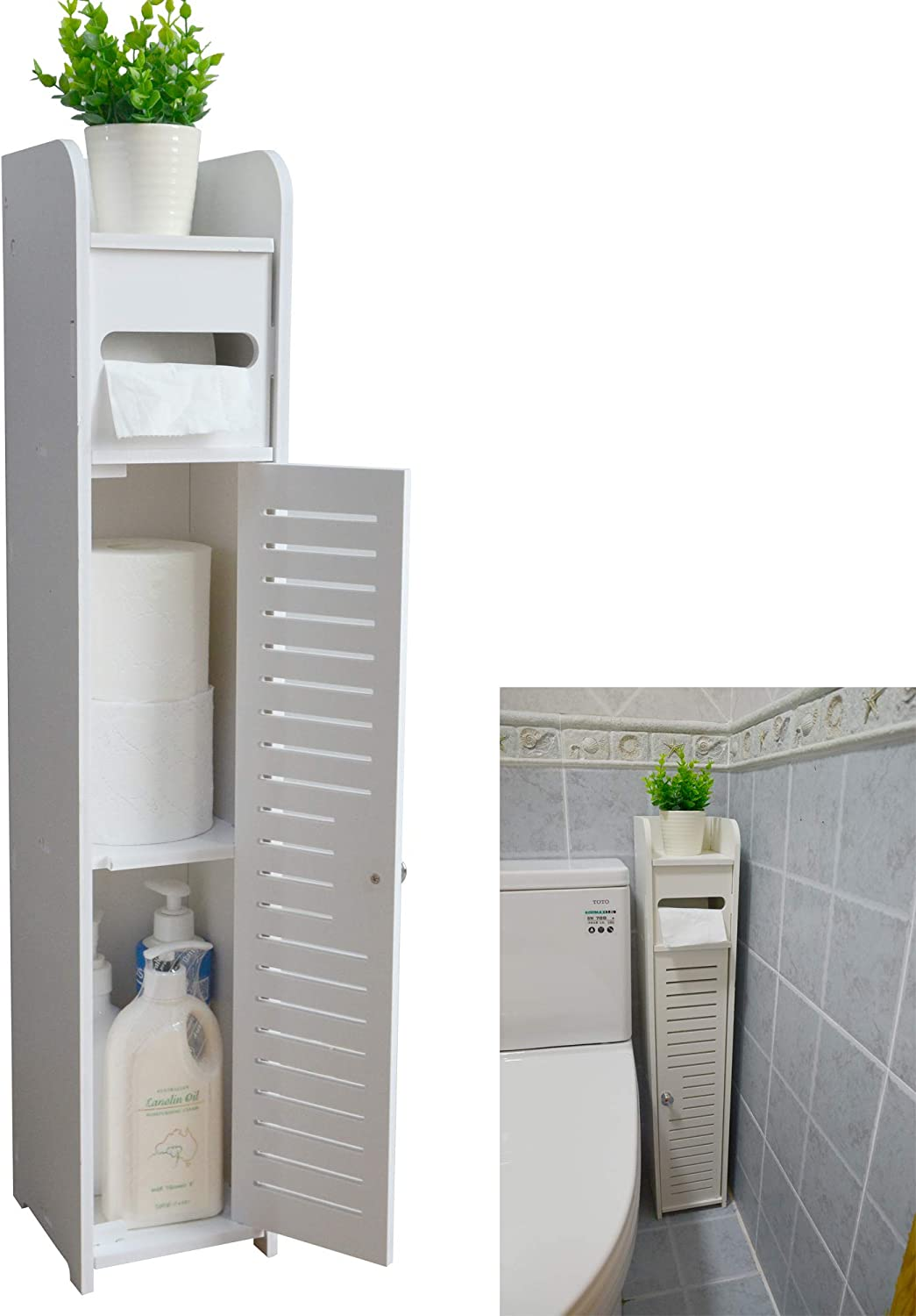 AOJEZOR Small Bathroom Storage Corner Floor Cabinet with Doors and Shelves, Thin Toilet Vanity Cabinet, Narrow Bath Sink Organizer, Towel Storage Shelf for Paper Holder, White: Home & Kitchen