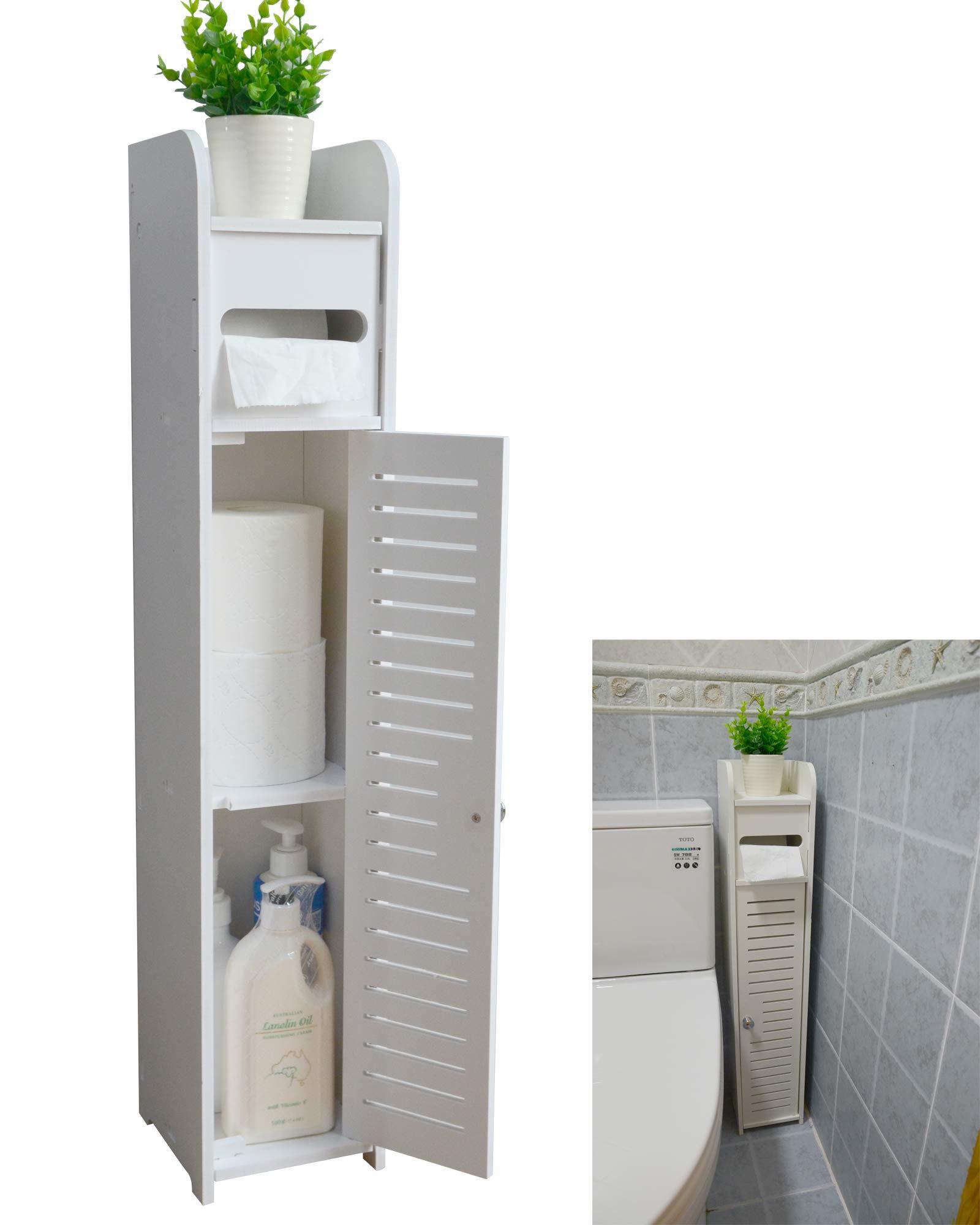 White Bathroom Floor Corner Cabinet Toilet Paper Storage Holder Organizer Shelf