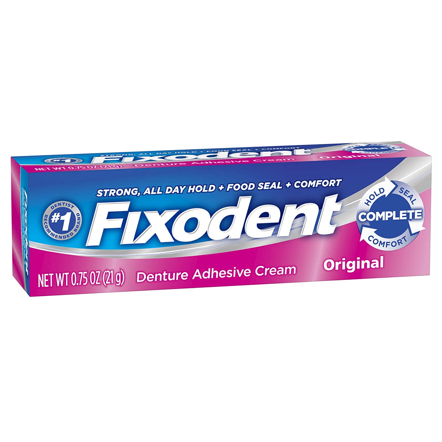 Fixodent denture adhesive cream, original, strong and long hold - 0.75 oz PH30037