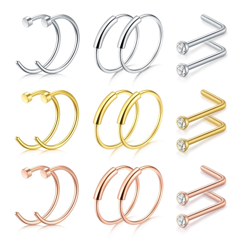 D.Bella Septum Hoop Rings, 20G 8mm 316L Stainless Steel Nose Septum Ring for Body Piercing Jewelry