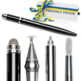 The Friendly Swede Stylus Pen 4-in-1 with Replaceable Brush, Capacitive Fiber Tip, Fine Point Disc Stylus Tip and Ballpoint in Box (Black)
