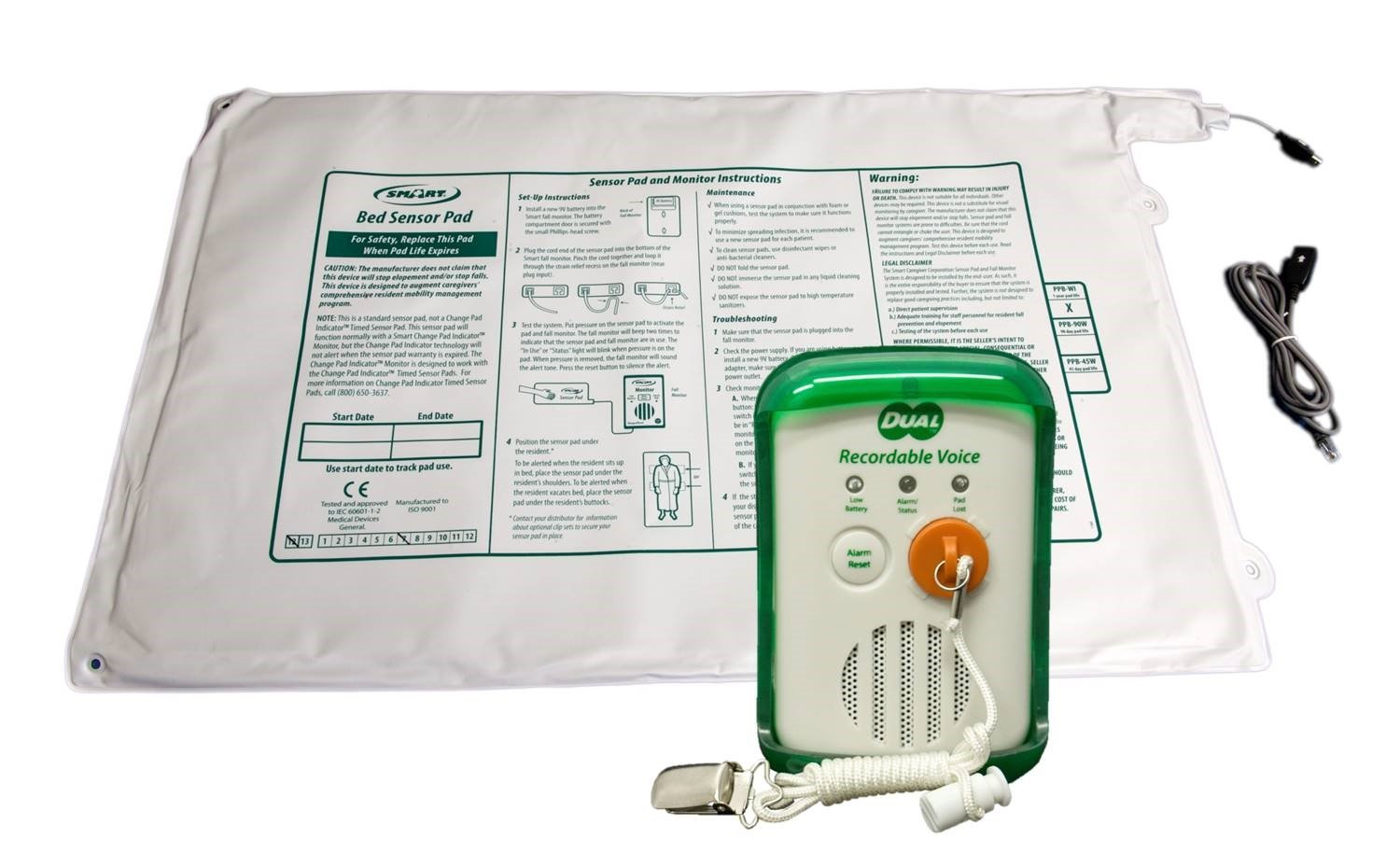 Smart Caregiver - Dual Pull-String & Bed-Exit Voice Recordable Monitor with 20''x30'' Bed Pad