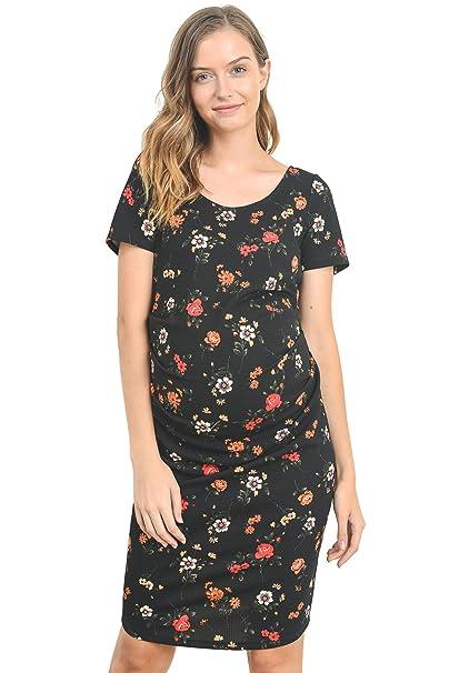 Hello MIZ Vestido de Maternidad para Mujeres Pequeña Rosa Negro