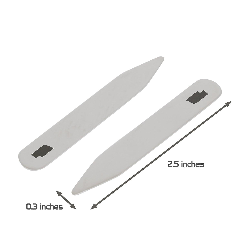 2.5 Inch Metal Collar Stiffeners Made In USA MODERN GOODS SHOP Stainless Steel Collar Stays With Laser Engraved Nebraska Design