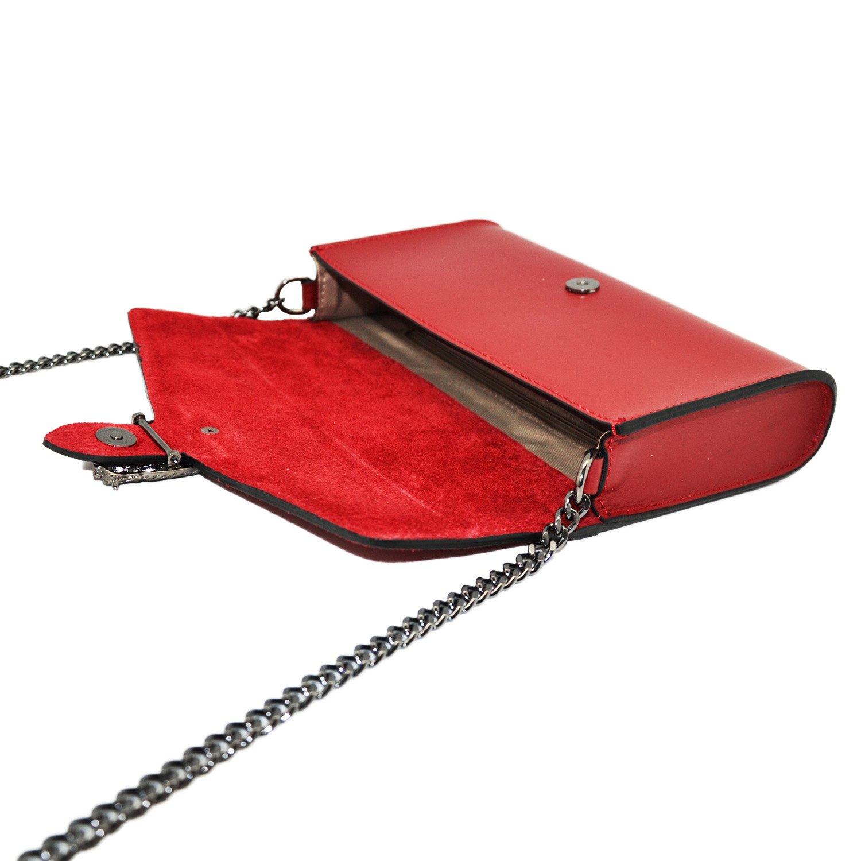 ecc799f7be #MYITALIANBAG RONDA Sac à main Baguette Pochette, sac à bandoulière avec  chaîne en nickel foncé fermeture ...