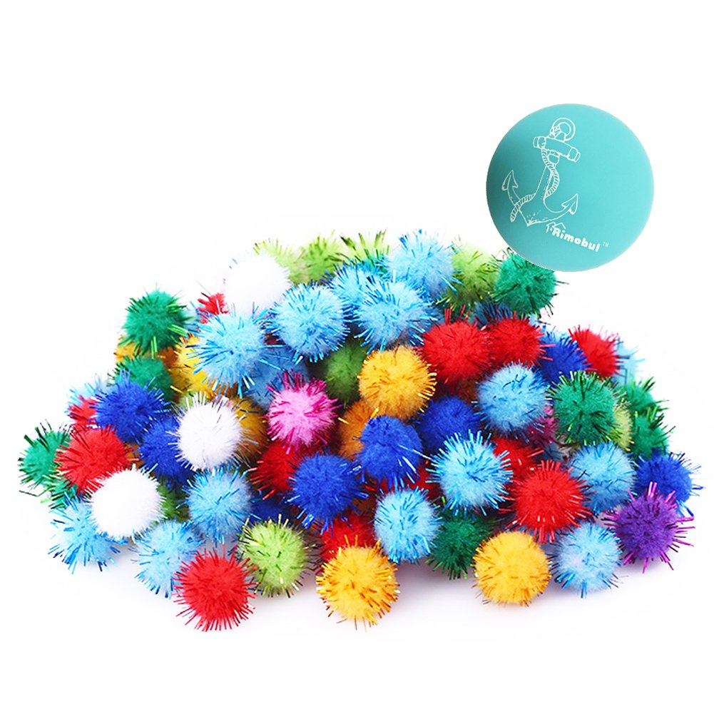 Rimobul Assorted Color Sparkle Balls My Cat's All Time Favorite Toy - 1.5'' - 50 Pack