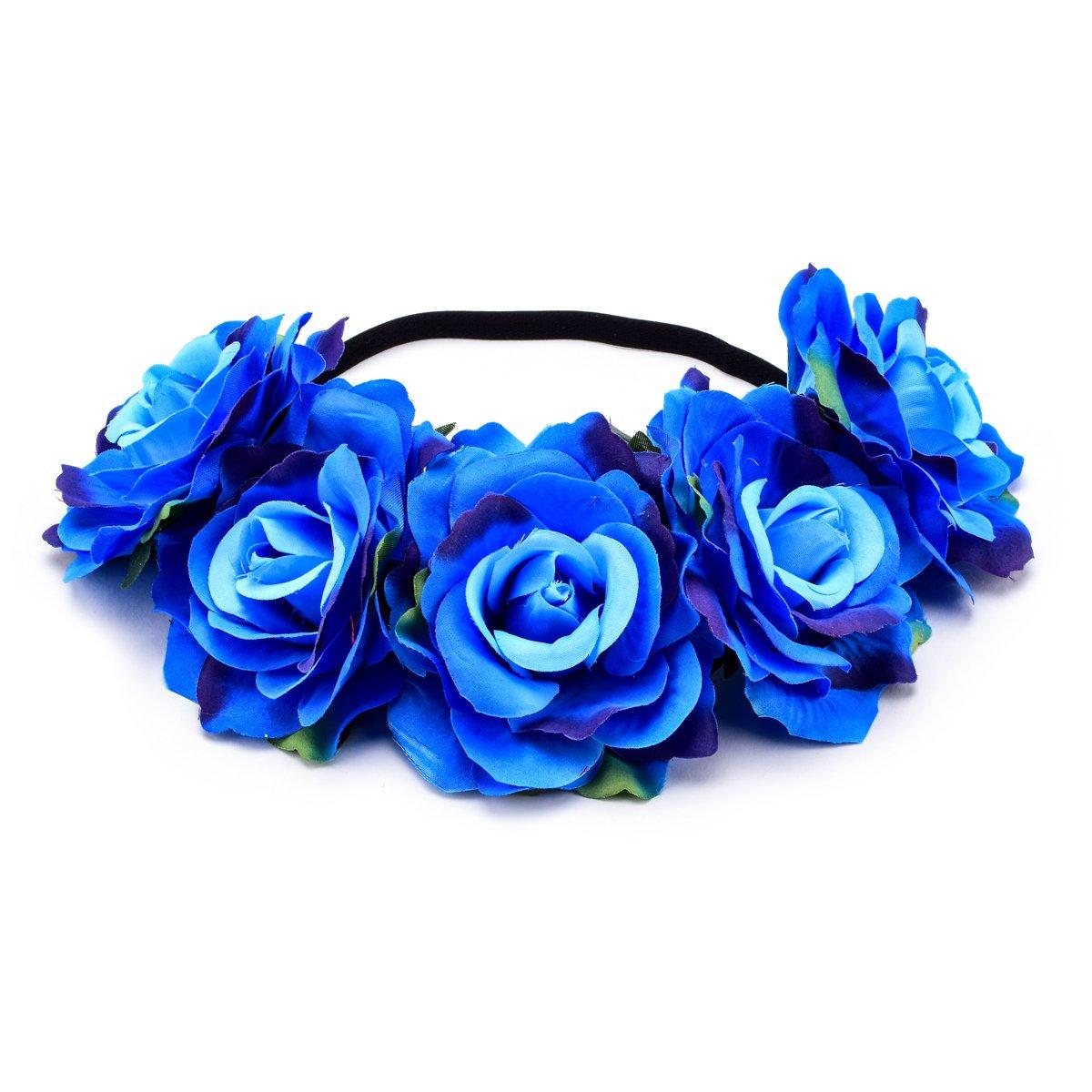 お気に入り DreamLily BC12 BC12 レディース ハワイアンストレッチローズ Z-blue フラワーヘッドバンド フラワークラウン ガーランドパーティー用 B07DX4GZRR Z-blue B07DX4GZRR Z-blue, 雑貨のおもちゃ箱バーグ:b3a59b58 --- arianechie.dominiotemporario.com
