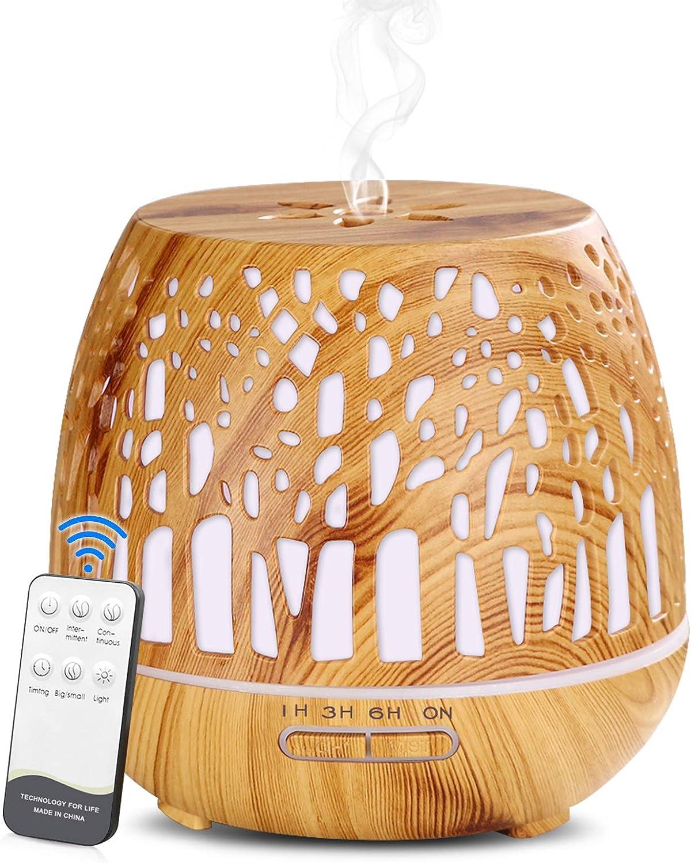Simpeak Diffuseur d'Huiles Essentielles 400ml, Télécommande d'humidificateur Ultrasonique Sans BPA avec Lumière LED à Couleurs Variables 3 Minuterie pour la Maison/Yoga/Bureau/SPA - Bois