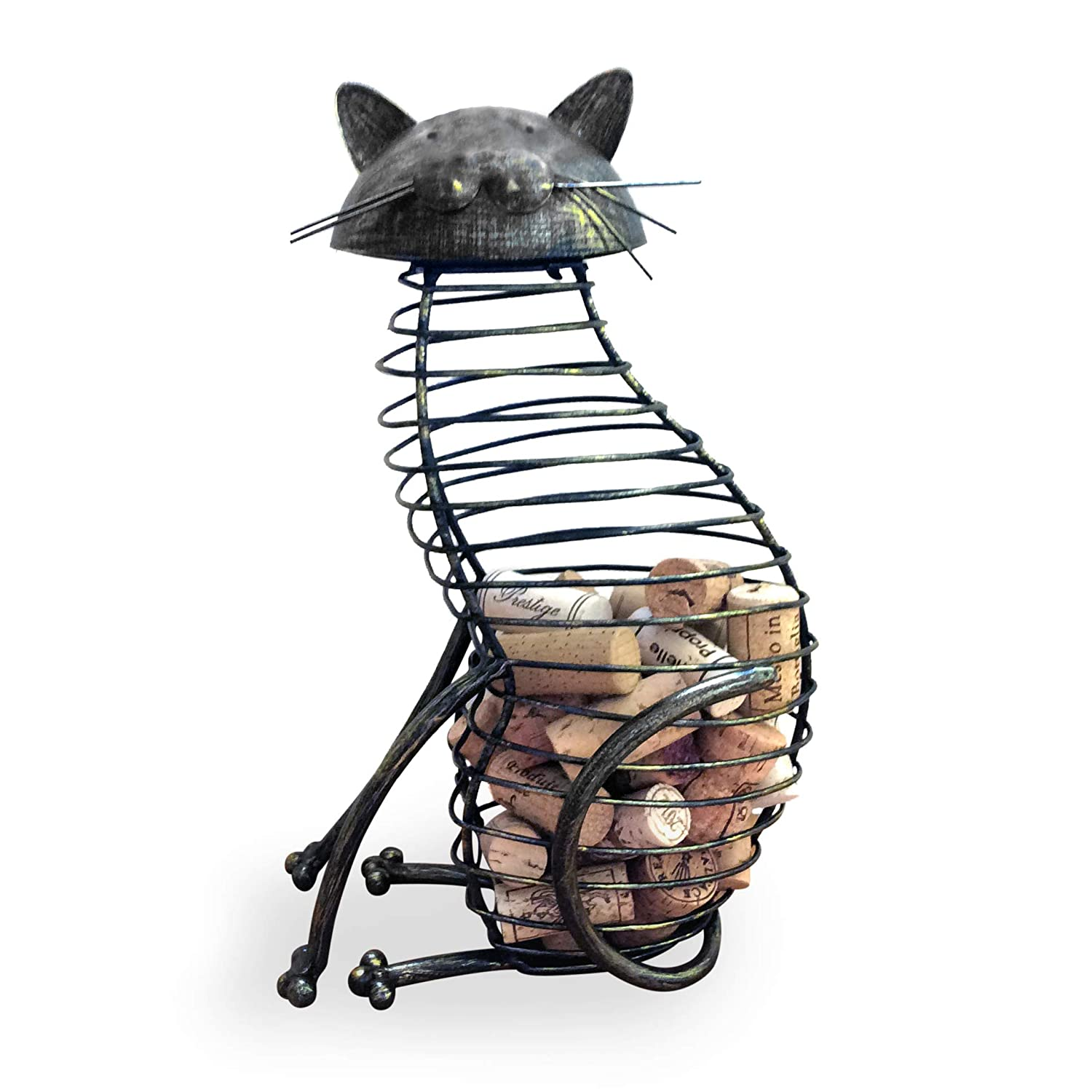 Wine Cork Holder A Decorative Wine Cork Holder Wine Barrel In The Shape Of A Elegant Metal Cat For Cat And Wine Lovers Great For Wine Corks Of