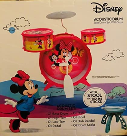 Amazon Com Disney Junior Minnie Mouse Jazz Drum Set With Stool