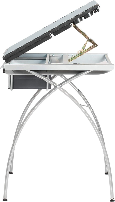 Pewter//Clear Glass SD Studio Designs 38013 Futura Metal Hobby Desk
