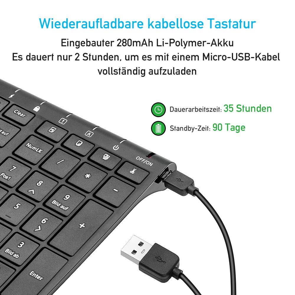 Sonkir Tastatur und Maus, K-18 2,4GHz ultradünne wiederaufladbare Aluminium-Tastatur in voller Größe für Windows, Laptop, PC, Notebook (Schwarz)