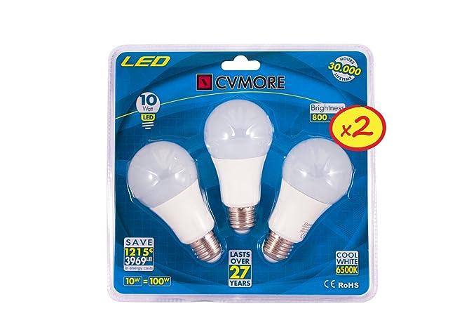 4a0e0c22f39 Pack de 6 CVMORE LED BULBO GLOBE 10W E27 6500K Cool Blanco Ultra Brillante  Lámpara de